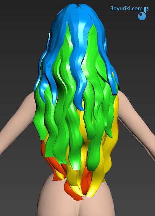 Разделение 3D волос на слои