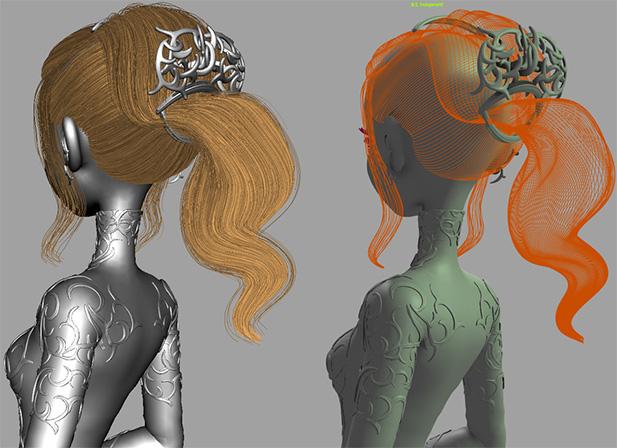 3D девочка, скриншот из Maya
