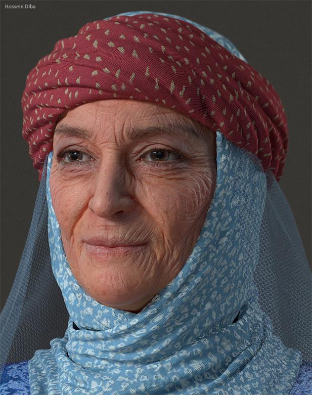 3D портрет старой восточной женщины
