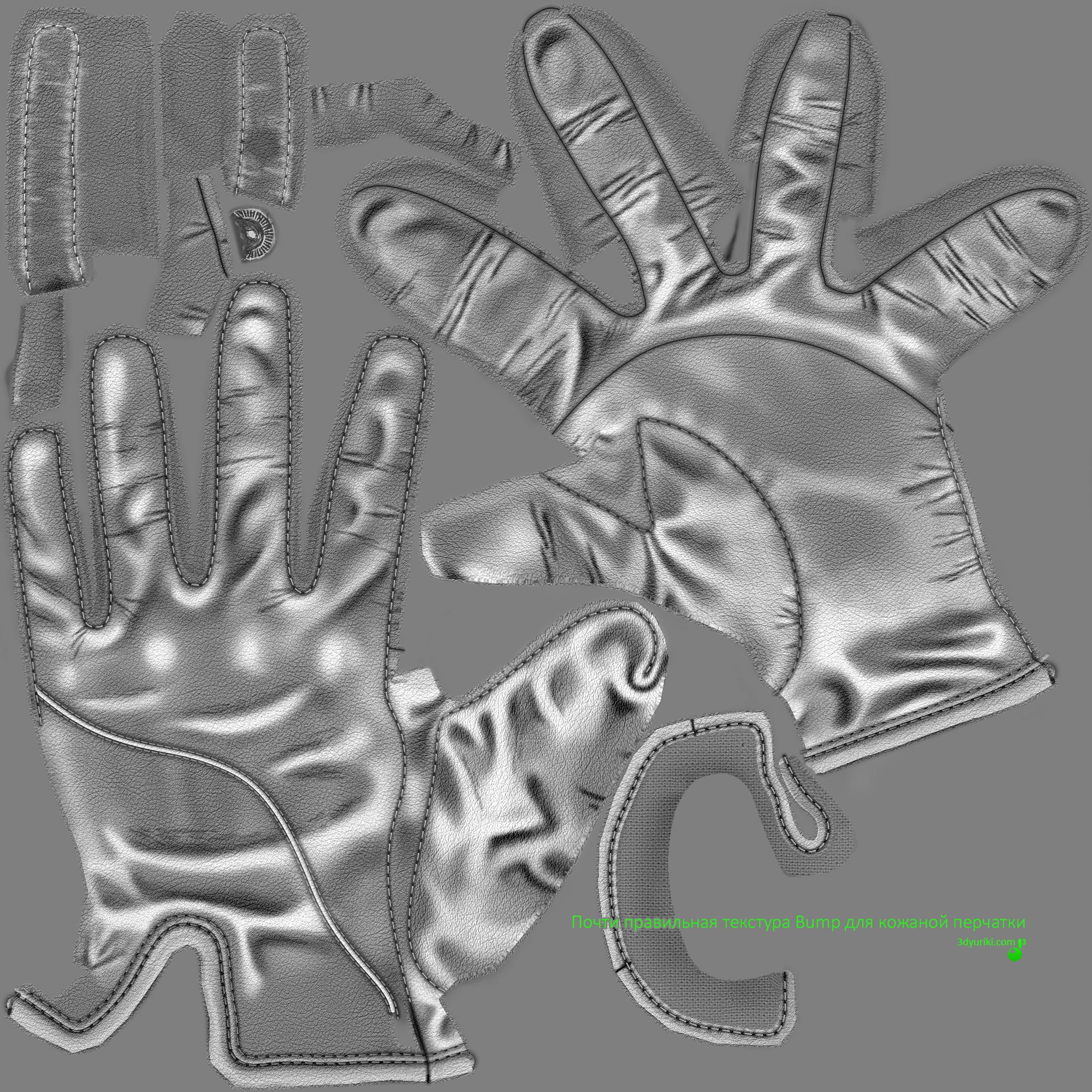 Правильная текстура Bump для кожаной перчатки