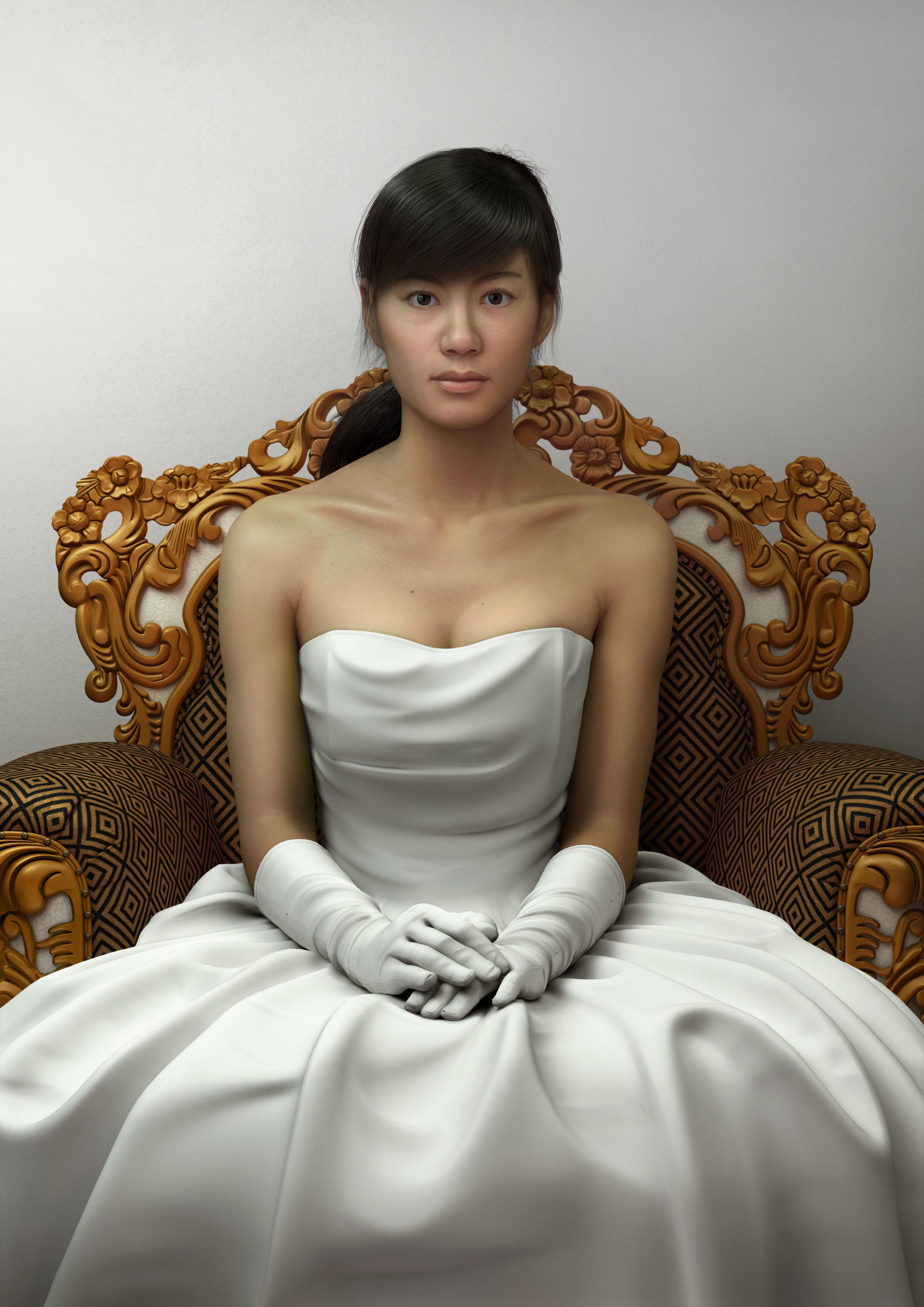 3D девушка в кресле оригинал
