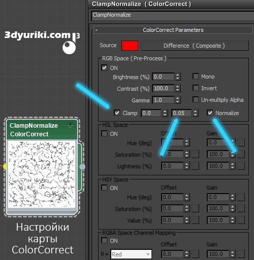 Настройки карты ColorCorrect