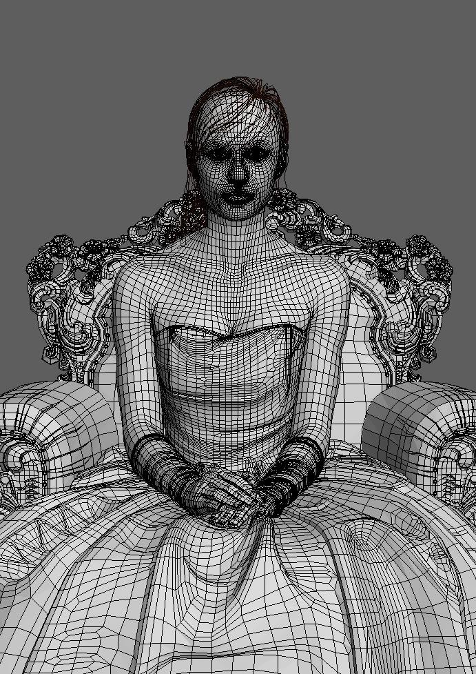 сетка 3D девушки в кресле
