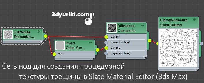цепь нод для создания процедурной текстуры трещины в 3ds Max