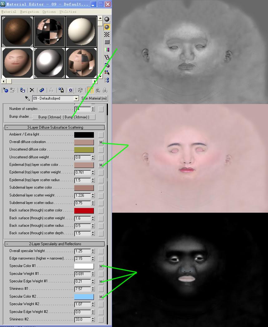 текстуры для реалистичного рендера лица 3d девушки