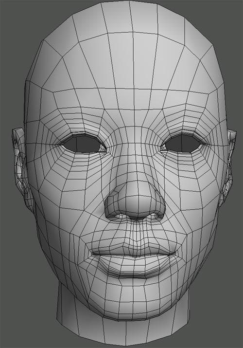 топология лица 3d девушки
