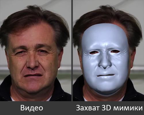 Захват 3D мимики в реальном времени
