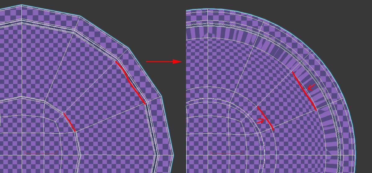 Как может потянуться UV при длинны полигонах