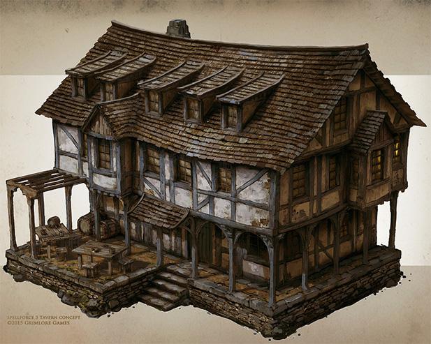 Концепт рисунок старого здания сложного для моделирования джуниором