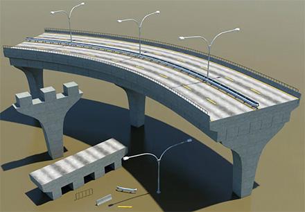 Процедурно сгенерированная дорога (автострада) в 3ds Max