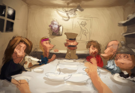 Первый набросок рисунка Встреча с семьей моей девушки