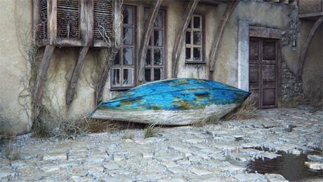 Сельская улочка после дождя с чудесной старой синей лодкой