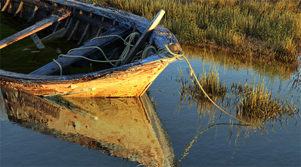 Старая 3D-лодка на болоте, красивый закат
