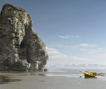 CG-лодка после отлива на песке возле скалы