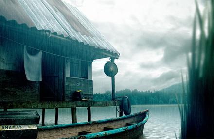 CG-лодка в лагуне на Каспийском море, дождь