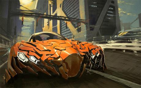 Суперкар будущего разделяется на части во время езды