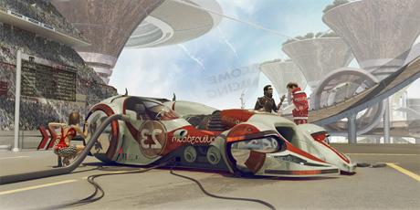 Гоночная машина будущего со сферическими сверхпрочными колесами