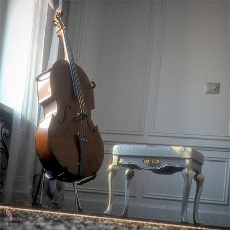 3d-виолончель и табуретка в классическом интерьере
