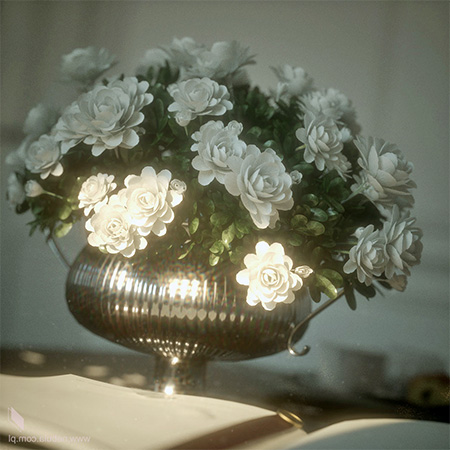 3D-ваза с цветам на столе