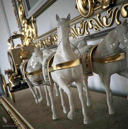 Мраморные 3D-статуэтки лошадей с золотой упряжкой