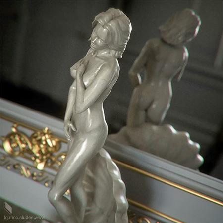 Фарфоровая дорогая 3d-статуэтка обнаженной женщины