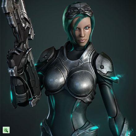 Красивая женщина-воин с автоматом из Старкрафта