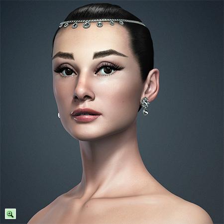 Классическая красавица 3D-портрет Одри Хепбёрн