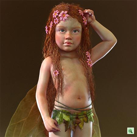 Сказочная рыжая маленькая 3D-девочка