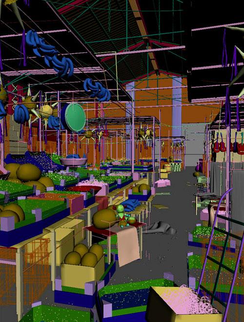3d-сцена фруктового отдела рынка в 3ds max