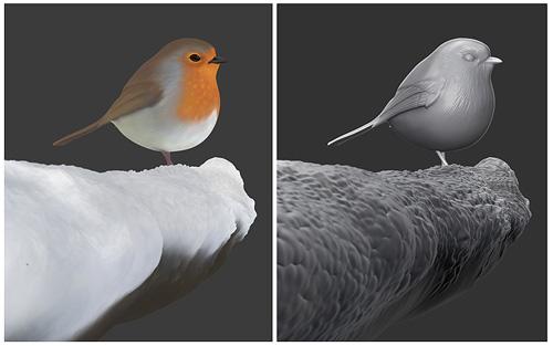 Рендер птички без постобработки
