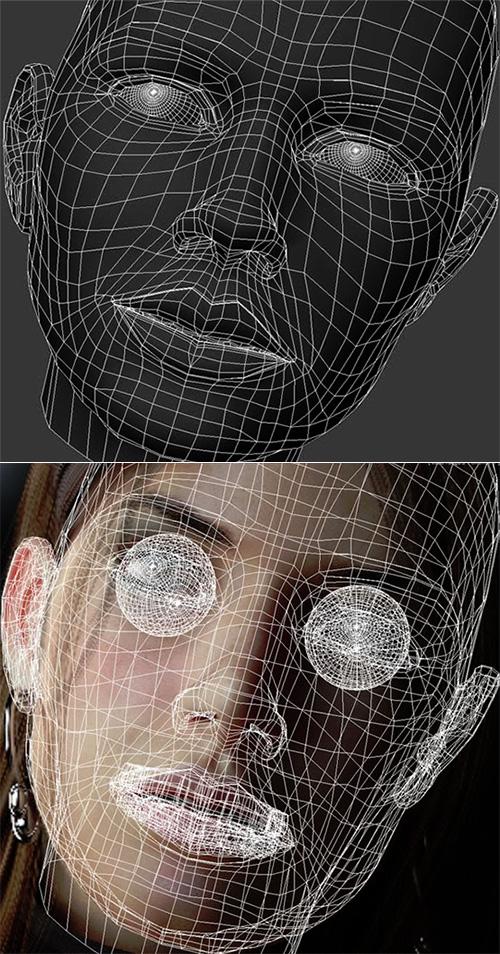 Топология лица грустной женщины
