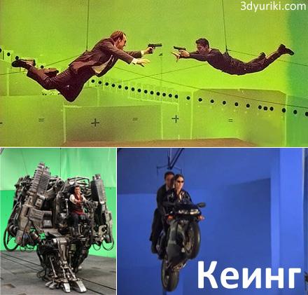 Кеинг на примере съемок фильма Матрица на зеленом и синем экранах