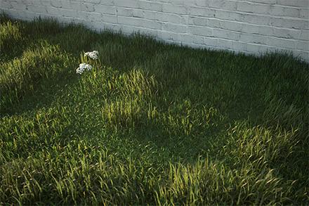 Реалистичная 3D трава возле крашеной кирпичной стены
