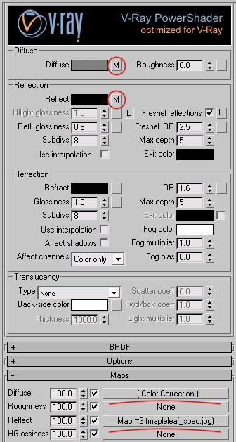 Настройки верхнего материала листка (слот Front для VRay2sidedMtl)